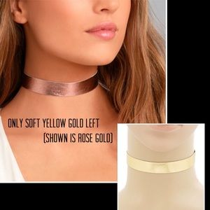 Metallic Soft Gold Simple Leather Choker,NWT